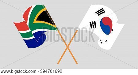 Crossed And Waving Flags Of South Africa And South Korea. Vector Illustration