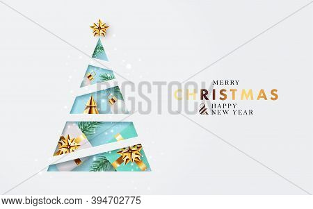 Xmas Modern Design With Paper Cut Christmas Tree, 3d Realistic Golden Blue And White Gifts, Pine Bra