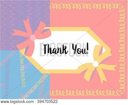 Design Template For Cute Thank You Card . Template For Scrapbooking With Hand Drawn Doodle Patterns.