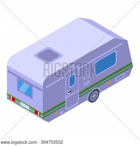 Camp Bus Trailer Icon. Isometric Of Camp Bus Trailer Vector Icon For Web Design Isolated On White Ba