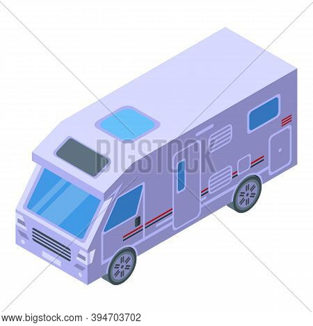 Family Motorhome Icon. Isometric Of Family Motorhome Vector Icon For Web Design Isolated On White Ba