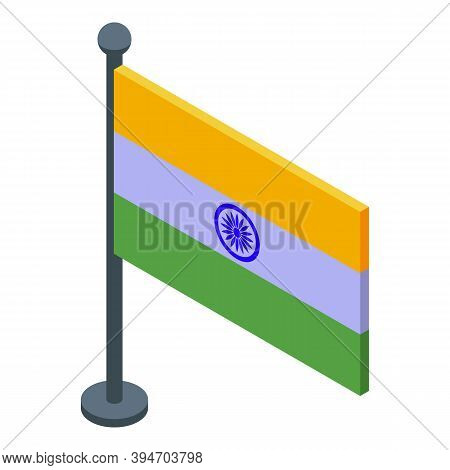 Indian Desktop Flag Icon. Isometric Of Indian Desktop Flag Vector Icon For Web Design Isolated On Wh