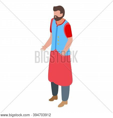 Indian Bearded Man Icon. Isometric Of Indian Bearded Man Vector Icon For Web Design Isolated On Whit