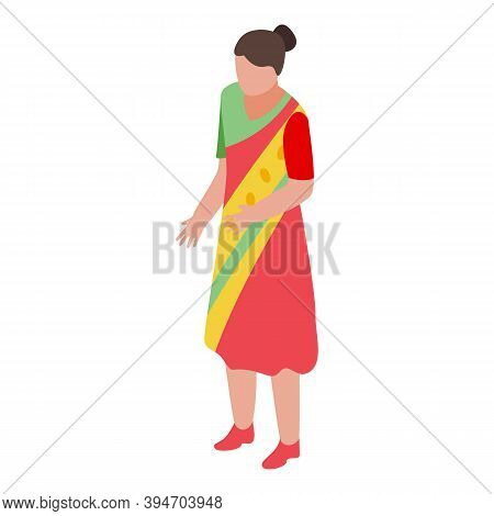 Hindi Woman Icon. Isometric Of Hindi Woman Vector Icon For Web Design Isolated On White Background