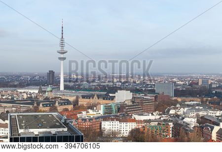 Hamburg Cityscape At Daytime, Germany. Aerial View With Radio Telecommunication Tower