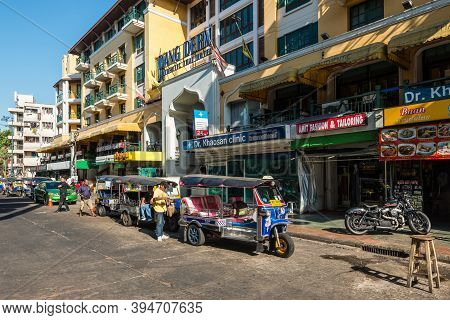 Bangkok, Thailand - December 7, 2019: Moto-taxi Called Tuk-tuk Is A Landmark Of The City And Popular