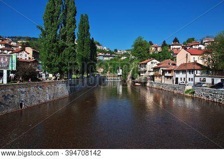 Sarajevo, Bosnia And Herzegovina - 27 Apr 2018: The River In Sarajevo City, Bosnia And Herzegovina