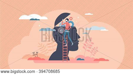 Psychology As Open Mind Therapy To Solve Emotional Inner Mess Tiny Person Concept. Symbolic Head Res