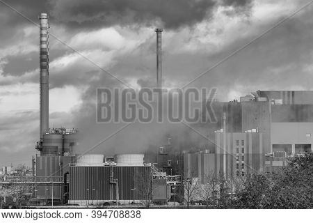 Production Facilities Of An Industrial Area In The West Of Frankfurt Am Main, Hesse, Germany
