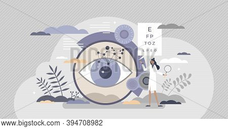 Ophthalmology As Eye And Vision Healthcare Occupation Tiny Person Concept. Medical Sight Checkup, Di