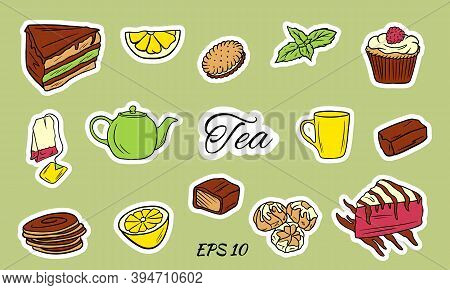 Tea Ceremony With Icons Isolated On White Background. A Set Of Tea Accessories: Cup, Teapot, Tea Bag