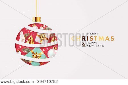 Xmas Modern Design With Paper Cut Red Christmas Ball, 3d Realistic Golden Blue And White Gifts, Pine