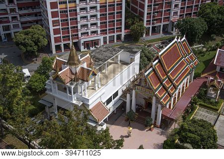 Singapore- 14 Nov, 2020: Ariel View Of Uttamayanmuni Buddhist Temple, Which Is A Beautiful Temple Lo