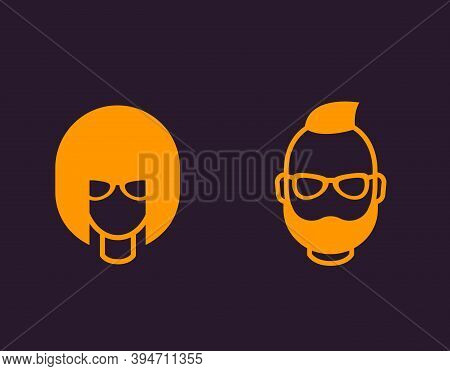 Avatars, Geeks, Girl And Bearded Man, Profile Icons, Eps 10 File, Easy To Edit
