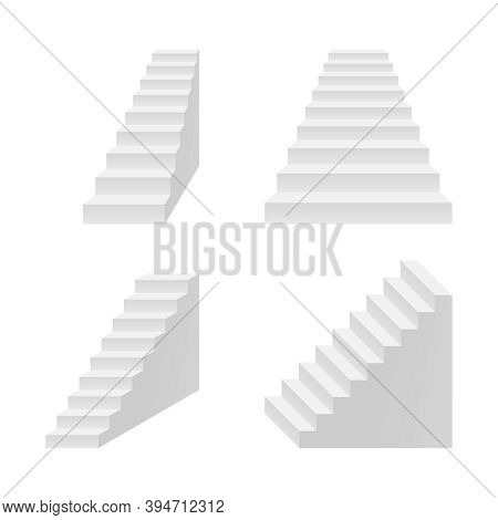 Vector Stairs In Perspective And Isometric View - Stairway For Business Concept, Progress, Growth, C