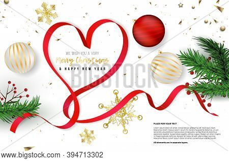 Christmas Card With Christmas Balls, Red Ribbon In Heart Shape, Spruce Twigs, Golden Snowflakes And