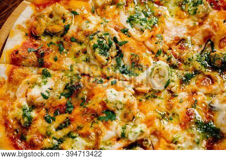 Delicious Shrimp Pizza On Wood Table