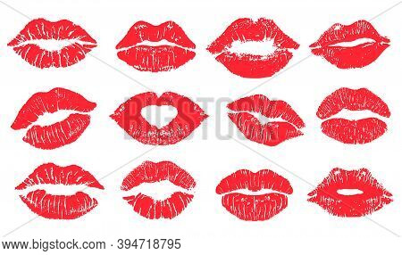 Female Lips Lipstick Kiss Print Set For Valentine Day And Love Illustration. Collection Of Lips Mark