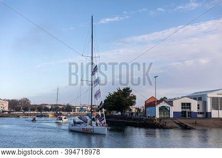 Les Sables D'olonne, France - November 08, 2020: Sebastien Destremau Boat (merci) In The Channel For