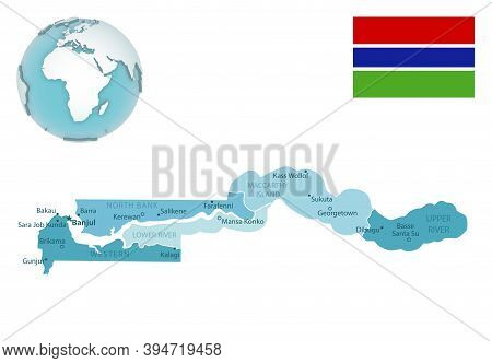 Gambia Administrative Blue-green Map With Country Flag And Location On A Globe.