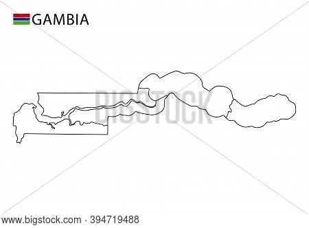 Gambia Map, Black And White Detailed Outline Regions Of The Country.