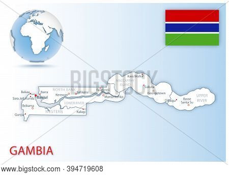 Detailed Map Of Gambia Administrative Divisions With Country Flag And Location On The Globe.