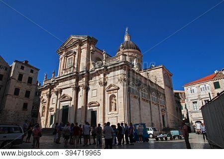 Dubrovnik, Croatia - 02 May 2018: Dubrovnik Cathedral On Adriatic Sea, Croatia