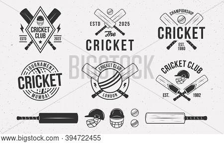 Cricket Emblems, Logo, Badges Templates. Set Of 6 Cricket Logo And 6 Design Elements. Cricket Bat, B