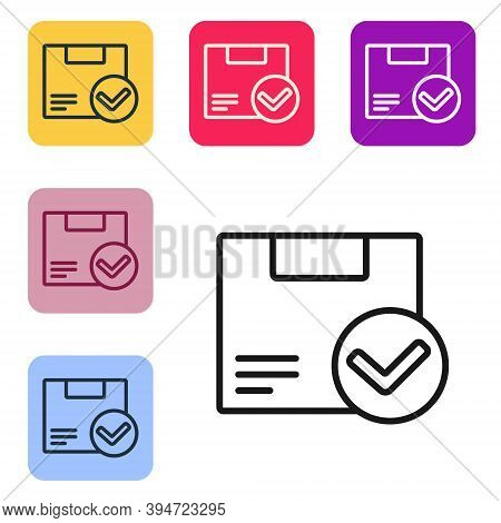 Black Line Package Box With Check Mark Icon Isolated On White Background. Parcel Box. Approved Deliv