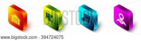 Set Isometric Warehouse, Search Package, Delivery Hand With Boxes And Placeholder On Map Paper Icon.