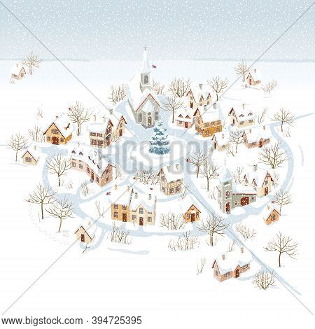 Aerial View Of A Small Snow-covered  Town  And Winter Rural Landscape. Vector Image Can Be Used As C