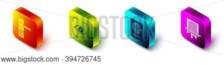 Set Isometric Door Handle, Eye Scan, Passport And Paper Shredder Icon. Vector