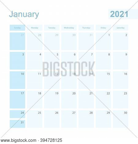 2021 January Wall Planner In Blue Color, Week Starts On Sunday. Calendar For January 2021 With Day O
