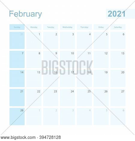 2021 February Wall Planner In Blue Color, Week Starts On Sunday. Calendar For February 2021 With Day