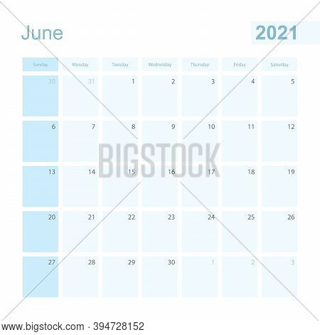 2021 June Wall Planner In Blue Color, Week Starts On Sunday. Calendar For June 2021 With Day Of Prev