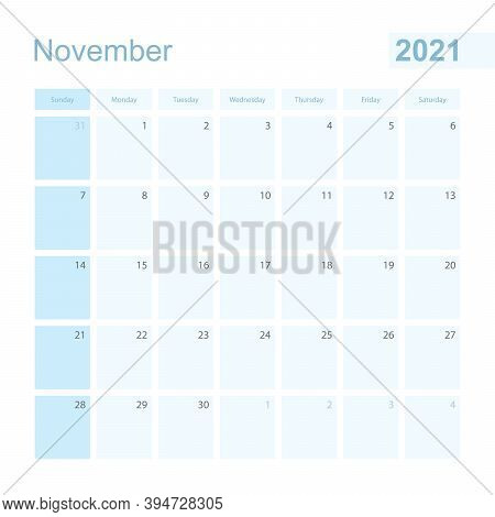 2021 November Wall Planner In Blue Color, Week Starts On Sunday. Calendar For November 2021 With Day
