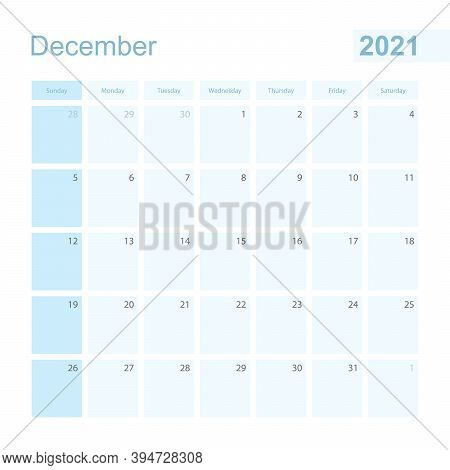 2021 December Wall Planner In Blue Color, Week Starts On Sunday. Calendar For December 2021 With Day