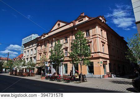 Ljubljana, Slovenia - 30 Apr 2018: The Cafe On The Vintage Street In Ljubljana, Slovenia