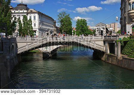 Ljubljana, Slovenia - 30 Apr 2018: Triple Bridge, Tromostovje In Ljubljana, Slovenia