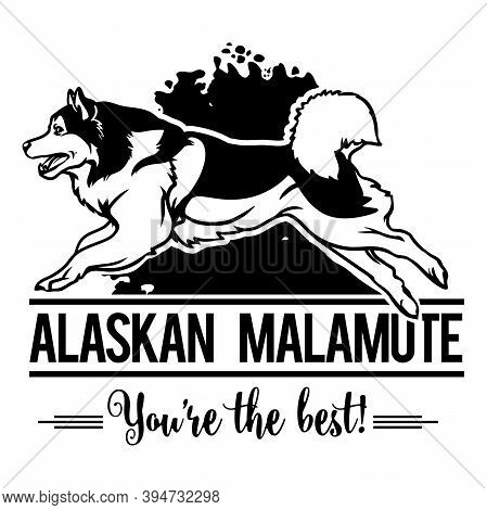 Alaskan Malamute In Jump - Dog Happy Face Paw Puppy Pup Pet Clip Art K-9 Cop Police Logo Svg Png Cli