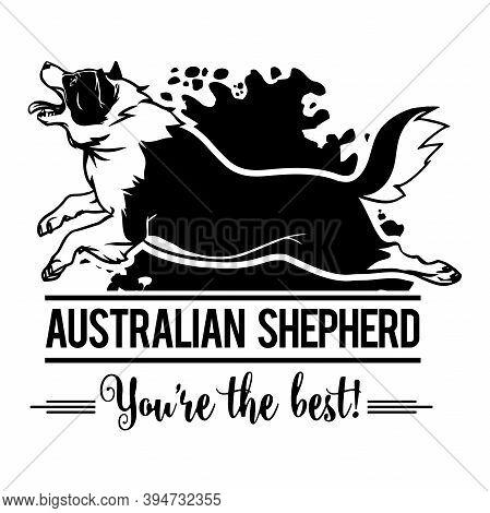 Australian Shepherd In Jump - Dog Happy Face Paw Puppy Pup Pet Clip Art K-9 Cop Police Logo Svg Png