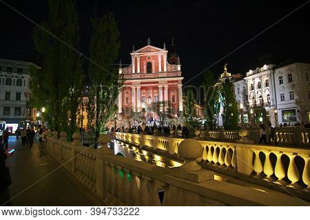 Ljubljana, Slovenia - 29 Apr 2018: Franciscan Church On Preseren Quare At Night, Ljubljana, Slovenia