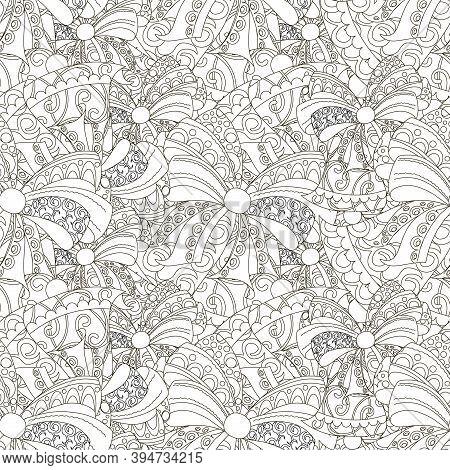 Decorative Bows Doodle Monochrome Ink Sketch Art Design Stock Vector Illustration For Web, For Print