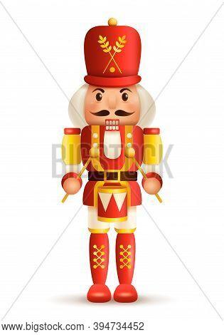 Christmas Nutcracker Drummer. Antique Traditional Figurine Doll.