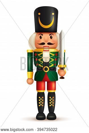 Christmas Nutcracker Soldier With Sword. Antique Traditional Figurine Doll.