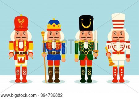 A Variety Of Nutcracker Toy Soldier For Christmas Design. Flat Vector Concept Illustration.