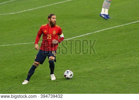 Kyiv, Ukraine - October 13, 2020: Sergio Ramos Of Spain In Action During The Uefa Nations League Gam