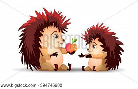 One Hedgehog Gives An Apple To The Second Hedgehog. Mom And Son. Vector Hedgehog. Cartoon Characters