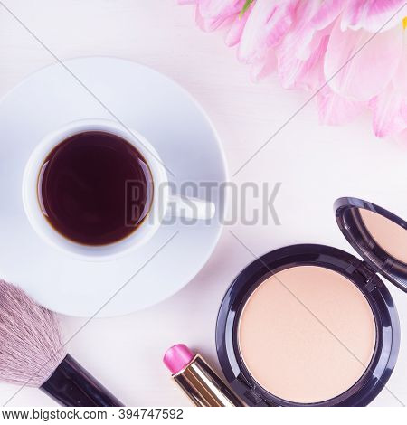Morning Makeup Products - Mocap With A Cup Of Coffee, Powder And Lipstick, Female Morning Background
