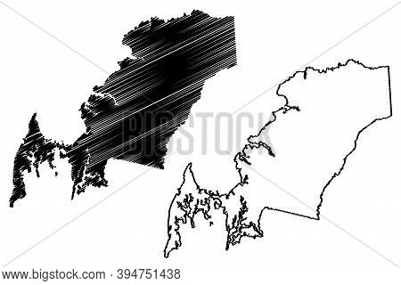 Queen Annes County, Maryland (u.s. County, United States Of America, Usa, U.s., Us) Map Vector Illus